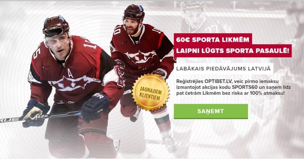 Prognozē sporta rezultātus, liec likmes un atgūsti 60€ no Optibet
