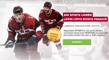 Liec likmes, prognozē sporta rezultātus un atgūsti 60€ no Optibet