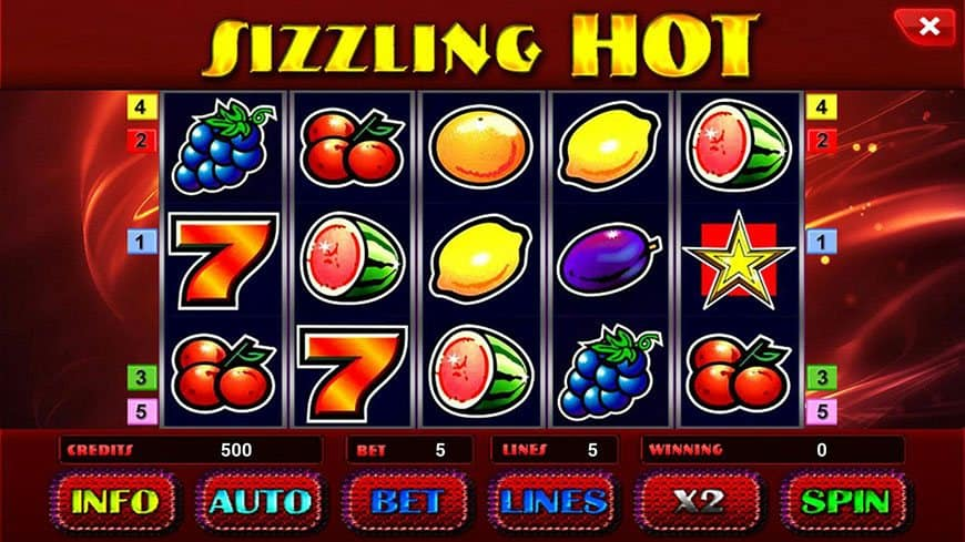 Sizzling hot slotu spēle